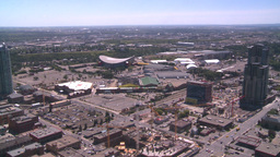 HD2008-7-8-15 aerial Cgy const cranes stampede grounds Stock Video Footage