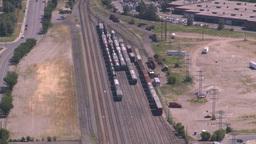 HD2008-7-8-17 aerial Cgy rail yards Stock Video Footage