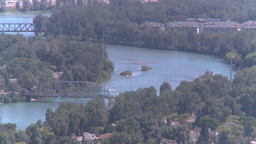 HD2008-7-8-21 aerial DT Cgy river and bridges Stock Video Footage