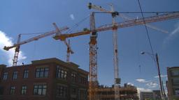 HD2008-7-8-30 constr site cranes Stock Video Footage