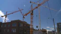 HD2008-7-8-30 constr site cranes Stock Video Footage