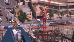 HD2008-7-9-38 aerial DT Cgy cranes traffic Stock Video Footage