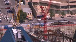 HD2008-7-9-38 aerial DT Cgy cranes traffic Footage