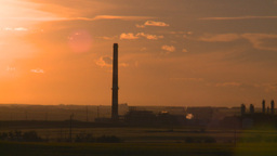 HD2008-7-14-57 gas plant stack late sunset Stock Video Footage