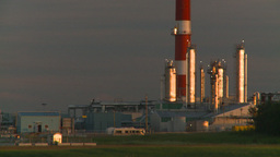 HD2008-7-14-65 gas plant stack late sunset Stock Video Footage