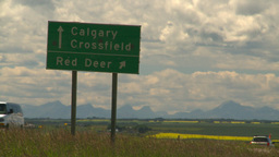 HD2008-7-15-66 highway sign calgary red Deer Footage