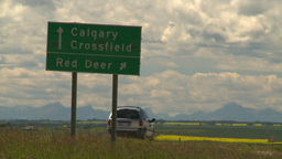 HD2008-7-15-66 highway sign calgary red Deer Stock Video Footage