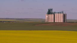 HD2008-7-16-62 canola fields grain elevators Stock Video Footage