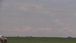 HD2008-6-1-31 AC airbus idle jet lands thru frame Stock Video Footage