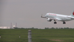 HD2008-6-1-31 AC airbus idle jet lands thru frame Footage