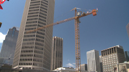 HD2008-6-2-7 Const crane and DT skyline pan Stock Video Footage