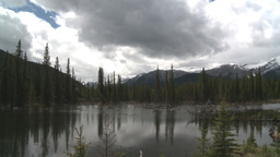HD2008-6-3-30 pond and mountains Stock Video Footage