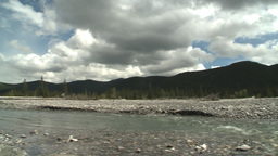 HD2008-6-3-52 elbow river and mountian pan Stock Video Footage