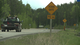 HD2008-6-3-68 texas gate road truck Stock Video Footage