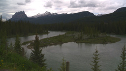 HD2008-6-6-8 Banff Castle mtn and river Stock Video Footage