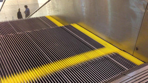 Escalator moves down Stock Video Footage