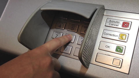 Using keypad at ATM machine Stock Video Footage
