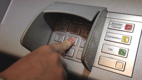 Using keypad at ATM machine Live Action