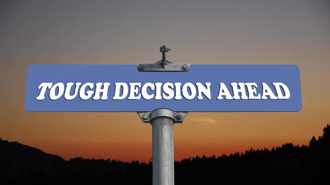 Tough decision ahead road sign with flowing clouds Stock Video Footage