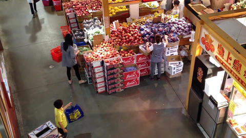Top shot of customer buying foods at Chinese Super Stock Video Footage