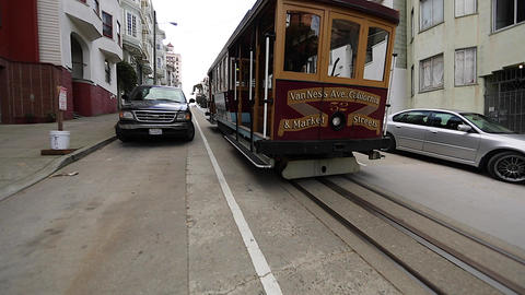 san Francisco cable car going own hill Footage