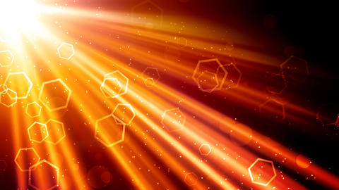 Golden Light Rays and Hexagons Stock Video Footage
