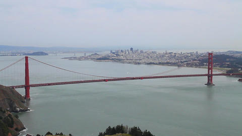 aerial pan of golden gate and san Francisco Footage