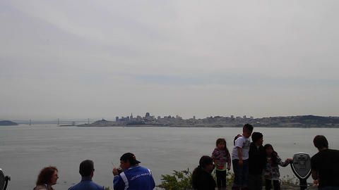 tourists view san Francisco from north viewpoint Live Action