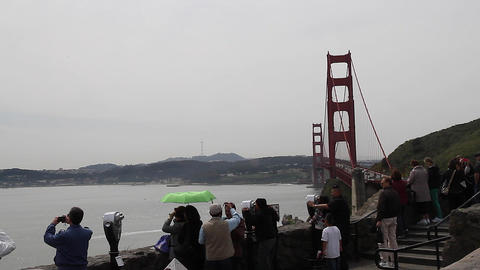 tourists golden gate from north viewpoint Live Action