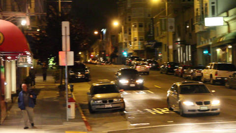 pan on Broadway street in evening Stock Video Footage