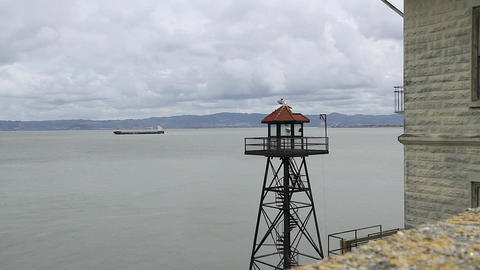 clear view of the watch tower at Alcatraz 2 Stock Video Footage