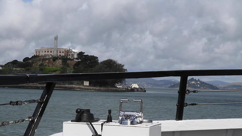 3 angles from boat to Alcatraz - cbd, Alcatraz, an Stock Video Footage