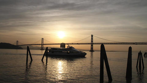 beautiful golden morning time lapse of bay bridge Stock Video Footage