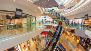 Hyperlapse Video Of A Busy Shopping Mall stock footage