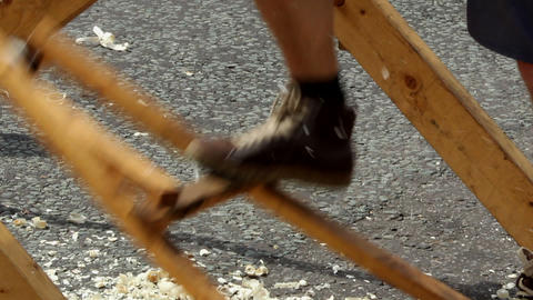 Pole Lathe - Pedal stock footage
