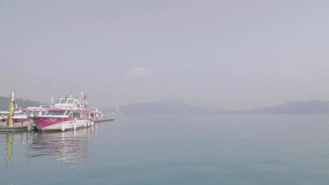 some boats at the sun moon lake pier Footage