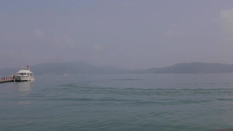 boat at sun moon lake leaves ita thao pier Footage