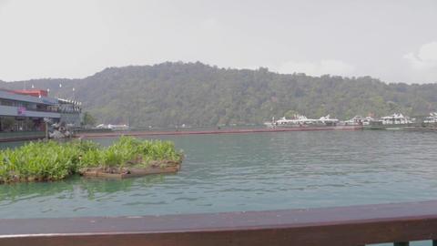 180 pan at the sun moon lake pagoda ita thao pier  Footage