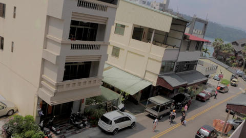 birds eye tilt shot at the town of ita thao Footage