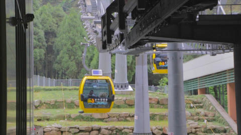 cable cars arriving at formosan aboriginal culture Stock Video Footage