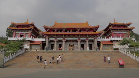 the front of wen wu temple wide pan Stock Video Footage