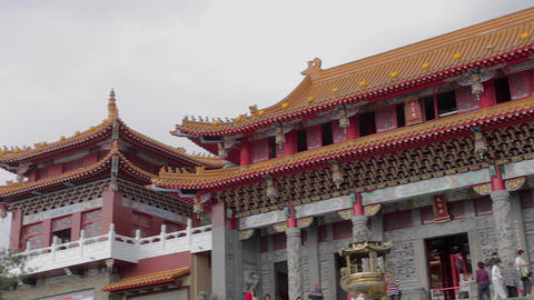 pan across the street at wen wu temple Stock Video Footage