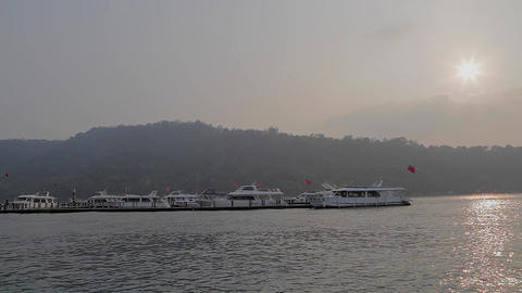 view of town of ita thao as boat leaves golden hou Stock Video Footage