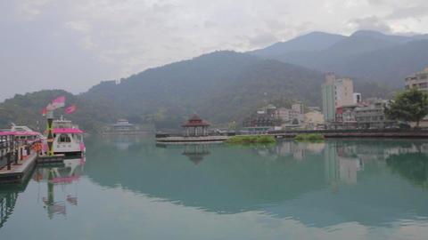 close shot of the pagoda at sun moon lake Stock Video Footage