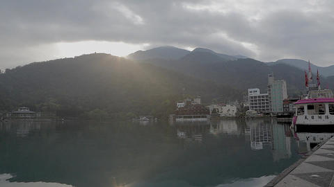The Sun Moon Lake On A Misty Morning stock footage