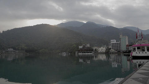 the sun moon lake on a misty morning Stock Video Footage