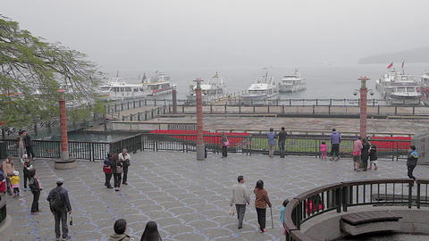 people walk at shueshe pier 2 Stock Video Footage