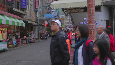 people walk on side street near shueshe pier Stock Video Footage