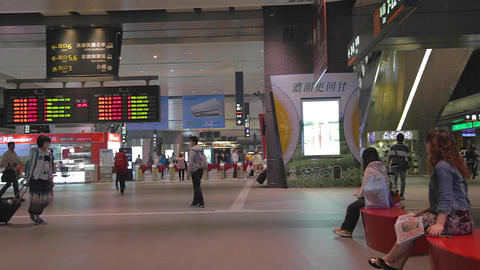 people entering the taichung high speed rail stati Stock Video Footage