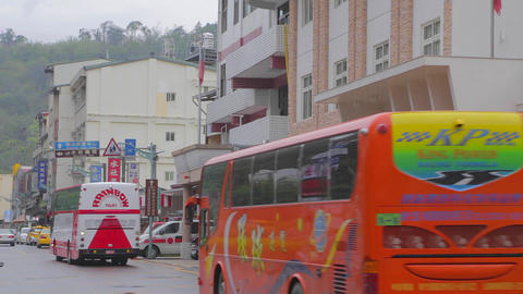 wide shot of buses and shueshe pier Stock Video Footage